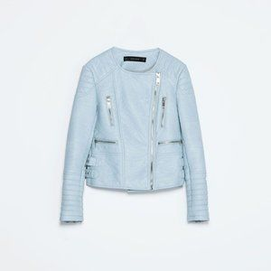 Zara | powder blue biker jacket (vegan leather)